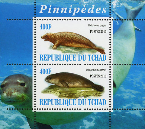Seal Pinnipeds Ocean Fauna Marine Life Souvenir Sheet of 2 Stamps Mint NH