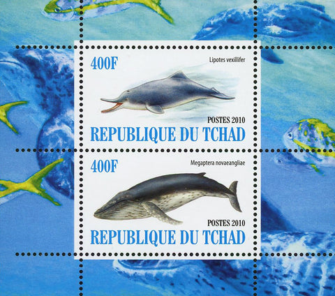 Dolphin Whale Ocean Fauna Marine Life Souvenir Sheet of 2 Stamps Mint NH