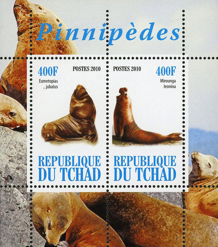 Seal Pinnipeds Ocean Fauna Mirounga Leonina Souvenir Sheet of 2 Stamps Mint