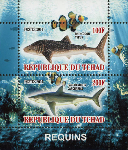 Shark Fish Ocean Fauna Marine Life Souvenir Sheet of 2 Stamps Mint NH
