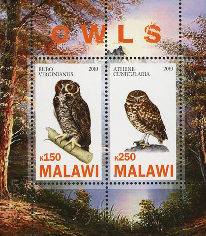 Malawi Owl Bird Prey Bubo Virginianus Souvenir Sheet of 2 Stamps Mint NH