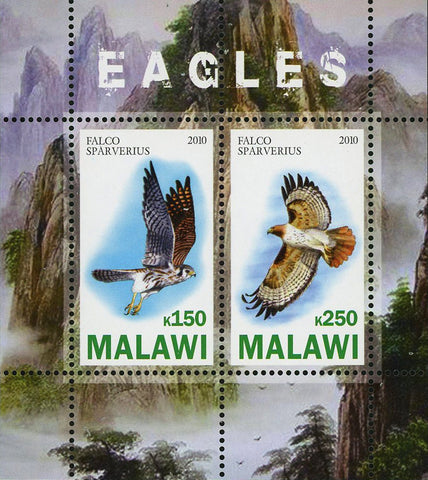 Malawi Fauna Eagle Falco Sparverius Bird Mountain Souvenir Sheet of 2 Stamps Mint NH