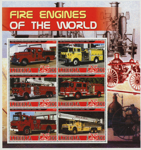 Firefighter Fireman Truck Vehicle Souvenir Sheet of 6 Stamps Mint NH