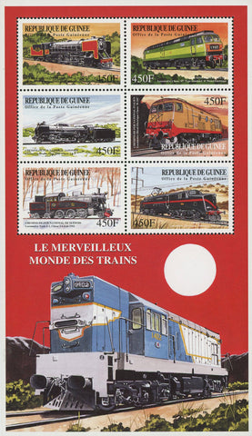 Guinea Wonderful World of Trains Locomotives Souvenir Sheet of 6 Stamps Mint NH