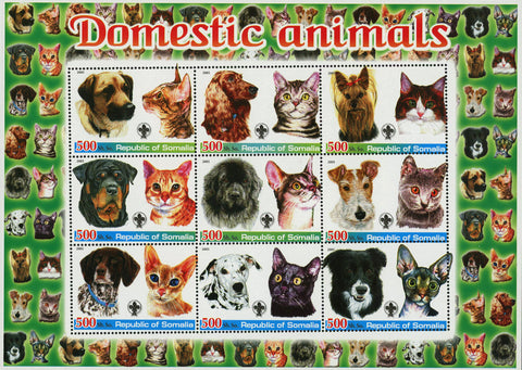 Somalia Domestic Animal Cat Dog Pet Souvenir Sheet of 9 Stamps Mint NH