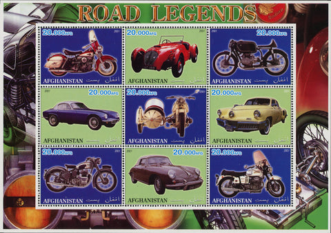 Afghanistan Road Legends Motorcycle Classic Car Souvenir Sheet of 9 Stamps Mint