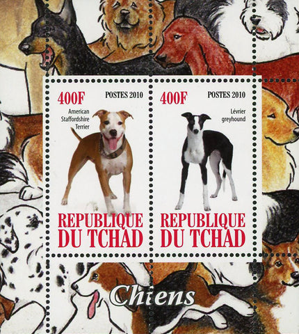 Chad Dog Pet Domestic Animal Terrier Greyhound Souvenir Sheet of 2 Stamps Mint NH