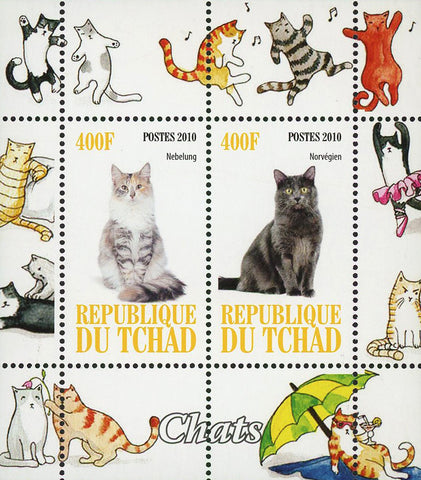 Chad Cat Pet Domestic Animal Nebelung Souvenir Sheet of 2 Stamps Mint NH