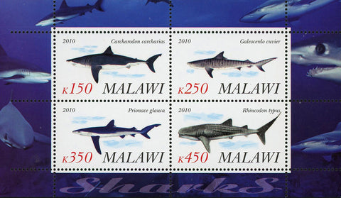 Malawi Shark Fish Ocean Fauna Marine Life Souvenir Sheet of 4 Stamps Mint NH