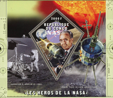 Congo NASA Heroes Space Astronaut Satellite Souvenir Sheet Mint NH