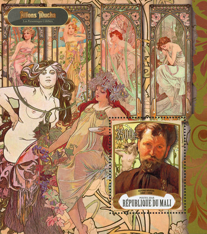 Artist Art Alfons Mucha Historical Figure Souvenir Sheet Mint NH