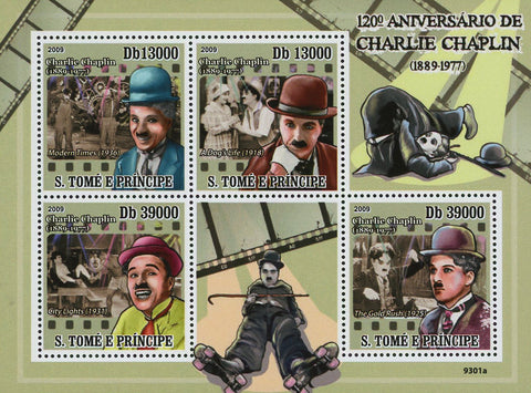 Charlie Chaplin Actor Filmmaker Famous Souvenir Sheet Mint NH