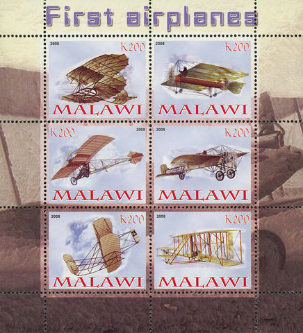 Malawi First Airplane History Transportation Souvenir Sheet of 6 Stamps Mint NH