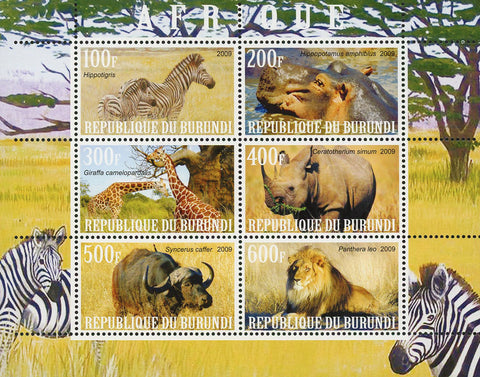 Africa Zebra Rhino Giraffe Lion Wild Animal Souvenir Sheet of 6 Stamps MNH