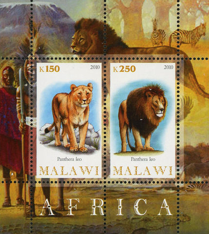 Malawi Africa  Wild Animal Lion Souvenir Sheet of 2 Stamps Mint NH