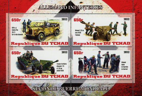 WW2 Second World War Infantry Military Souvenir Sheet of 4 Stamps Mint NH