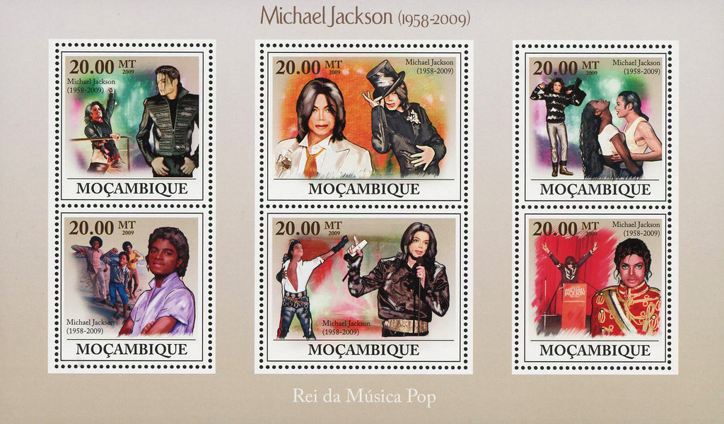 Michael Jackson Pop Singer Famous People Sov. Sheet of 6 Stamps MNH