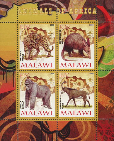 Malawi Animals of Africa Hippotragus Niger Gorilla Panthera Pardus Sov. Sheet of