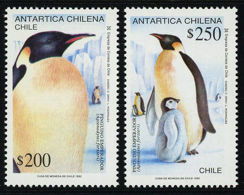 Chile Stamp Chilean Antarctic Penguin Emperor Set of 2 Stamps MNH