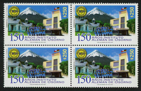 Chile Stamp Osorno 150 Years German Institute Volcano Block of 4 Mint NH MNH