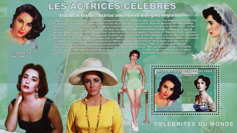 Famous Actress Elizabeth Taylor Movie Film Souvenir Sheet Mint NH