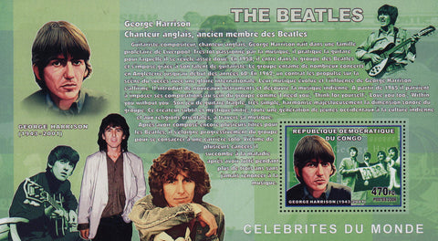 The Beatles George Harrison Music Famous Rock Souvenir Sheet Mint NH