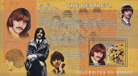 The Beatles Ringo Starr Music Famous Rock Souvenir Sheet Mint NH