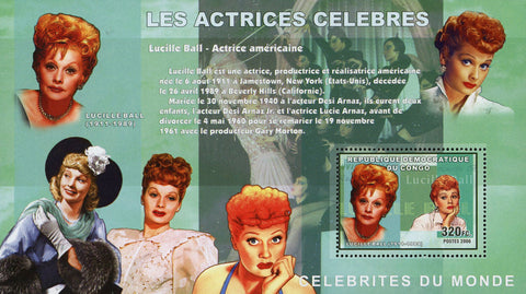 Lucille Ball American Actress Famous People Women Souvenir Sheet Mint NH
