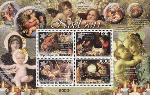 Chistmas Holidays Noel Jesus Art Painting Souv. Sheet of 4 Stamps MNH