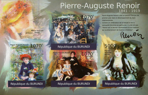 Pierre-Auguste Renoir Art Painter Imperforated Souv. Sheet of 4 Stamps MNH