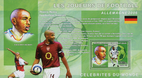 Football Soccer Player Thierry Henry Sport Souvenir Sheet Mint NH