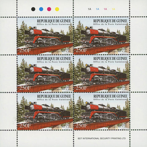 Guinea Train Locomotive Classic Transportation Souvenir Sheet of 6 Stamps Mint N