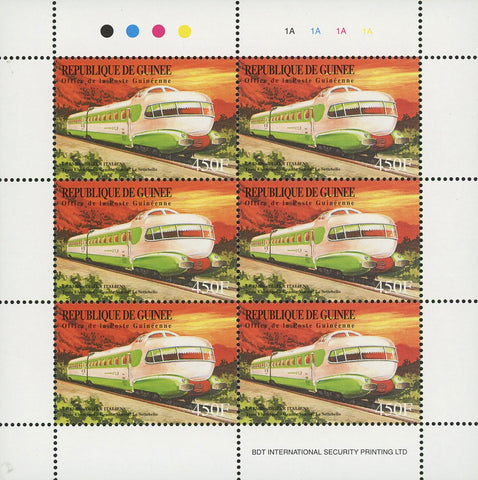 Guinea Train Locomotive Classic Le Settebello Transportation Sov. Sheet of 6 Sta