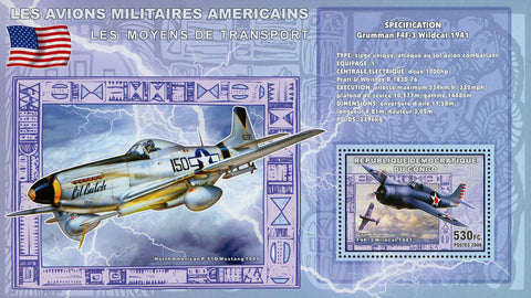 Congo American Militar Airplane USA Grumman F4F-3 Transportation Sov. Sheet Mint