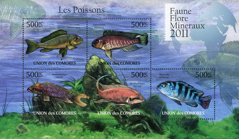 Fish Marine Life Ocean Fauna Flora Souvenir Sheet of 5 Stamps Mint NH