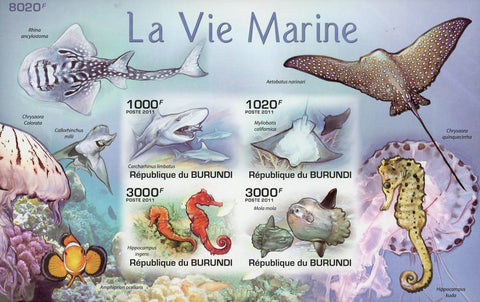 Marine Life Ocean Fauna Sea Horse Imp. Souvenir Sheet of 4 Stamps Mint NH