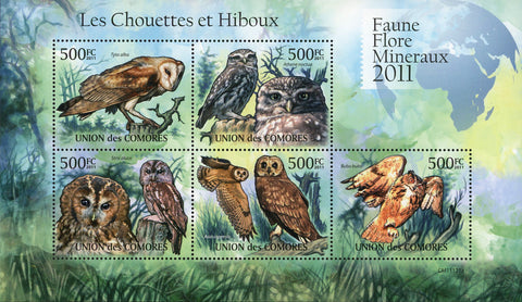 Owl Bird Tyto Alba Bubo Bubo Souvenir Sheet of 5 Stamps Mint NH