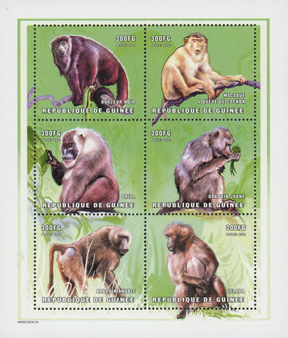 Guinea Monkey Chimpanzee Drill Gelada Souvenir Sheet of 6 Stamps Mint NH
