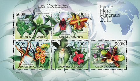 Flower Orchid Ida Fimbriata Eriopsis Sceptrum Sov. Sheet of 5 Stamps MNH