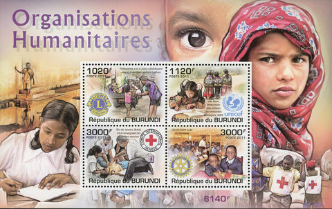 Humanitarian Organizations UNICEF CICR Sov. Sheet of 4 Stamps Mint NH