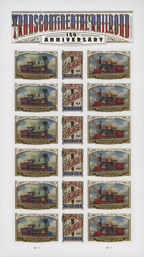 USA Transcontinental Railroad Golden Spike Forever USA Jupiter Sheet of 16 Stamps MNH