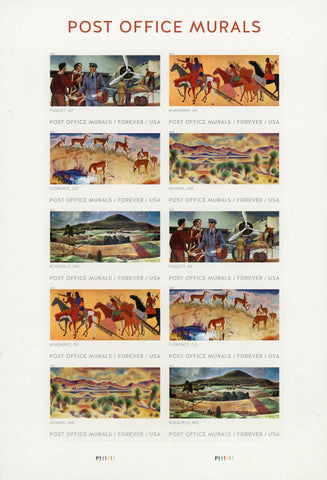 USA Post Office Murals Florence Rockville Anadarko Forever USA Sheet of 10 Stamp