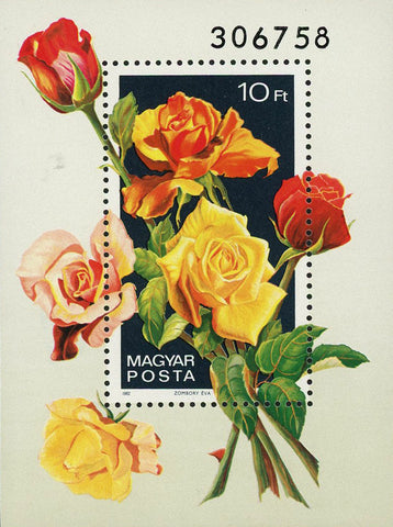 Hungary 2742 Rose Bouquet Flower Plant Nature Zombory Eva 1982 Souvenir Sheet Mi