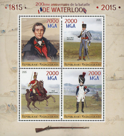 Madagaskar Battle of Waterloo Anniversary War Sov. Sheet of 4 Stamps MNH