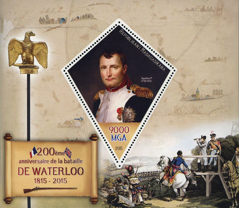 Madagaskar Battle of Waterloo Anniversary Napoleon Sov. Sheet Mint NH