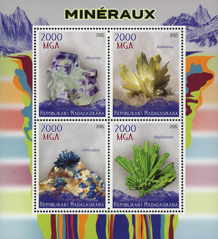 Mineral Fluorine Rabbittite Clinoclase Bayldonite Sov. Sheet of 4 Stamps MNH
