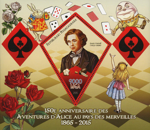 Alice in Wonderland Adventures Lewis Carroll Souvenir Sheet Mint NH