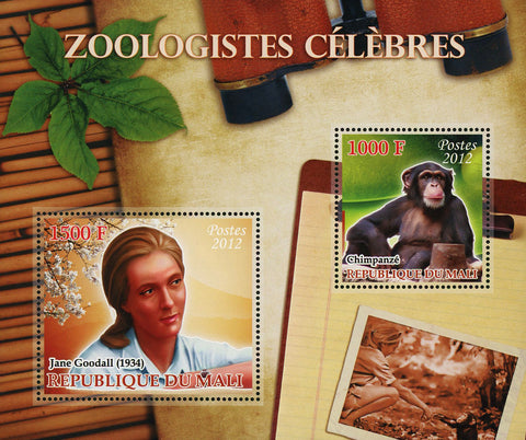 Famous Zoologists Jane  Goodall Animals Sov. Sheet of 2 Stamps Mint NH