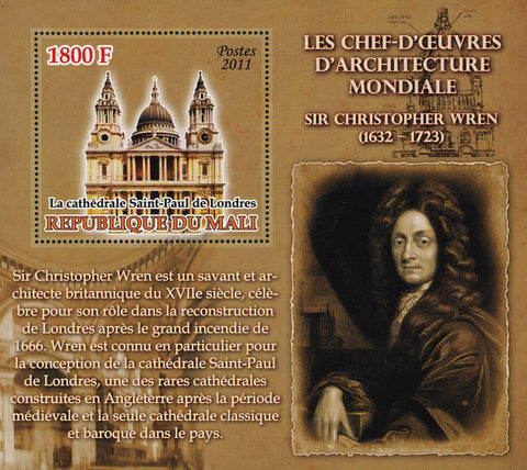 World Architectural Masterpiece Sir Christopher Wren Souvenir Sheet Mint NH