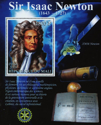 Sir Isaac Newton XMM Newton Satellite Science Souvenir Sheet Mint NH